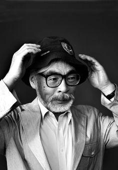 Hayao Miyazaki with hat