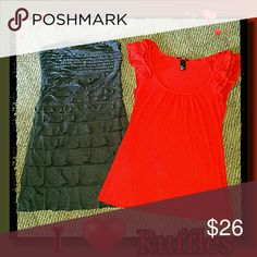 RUFFLE BUNDLE!! Both items feature ruffles!  The charcoal can be used as a tunic or a dress and is strapless with a lot of stretch.  It is an XS, BUT can certainly fit a small.  The red has ruffled sleeves and is a small!  The charcoal is Express and the red is H&M. See Description  Tops