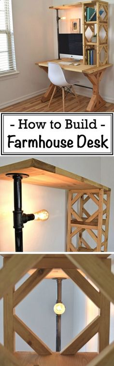 Plans of Woodworking Diy Projects - How to Build an Easy Farmhouse Desk #woodworking #workshop #decor Get A Lifetime Of Project Ideas & Inspiration!