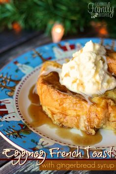 This Eggnog French Toast with Gingerbread Syrup is my new Christmas breakfast tradition! It was amazing, all the delicious flavors of the holiday season!  Also gingerbread syrup tags for taking around to neighbors.