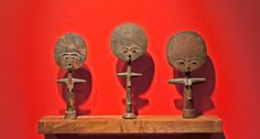 "Three FERTILITY DOLLS, ""Akua'ba""  Wood   Africa, Ghana, the Akan, Asante tribe  Mid-20th Century"