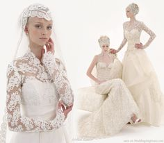 A Grace Kelly inspired lace wedding dress with lace veil head dress inspiration for modest brides or those wearing a hijab (islamic head scarf)