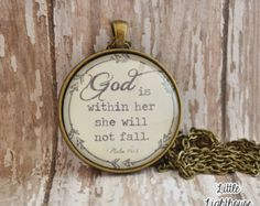 God Is Within Her She Wil Not Fall Pendant Necklace Christian Necklace Christian Pendant Inspirational Psalm 46:5 Necklace