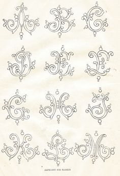 1800's Alphabet Embroidery Fonts via Knick of Time