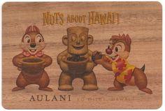 NEW Disney Aulani Chip and Dale Koa Wood Collectible Hand made Postcard Hawaii