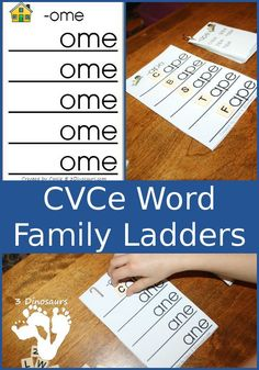 Free CVCE Word Family Ladders - with the following endings: -ace, -age, -ake, -ale, -ame, -ane, -ape, -ase, -ate, -ave, -ice, -ide, -ife, -ike, -ile, -ime, -ine, -ipe, -ise, -ite, -obe, -ode, -oke, -ole, -ome, -one, -ope, -ose, -ote, -ube, -ude, -ule, -une - 3Dinosaurs.com