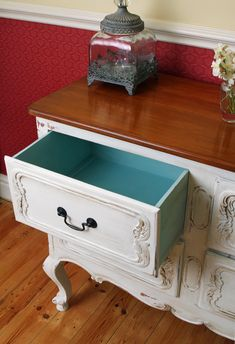 My hand painted chest of drawers, shabby chic style.