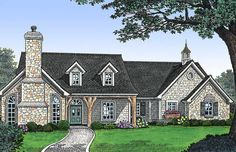 Country Home Plan with Stone Accents - 48126FM | Architectural Designs - House Plans Cottage Floor Plans, Lake House Plans, New House Plans, Dream House Plans, Brick Cottage, Craftsman Cottage, Cottage Style Homes, Country Homes, Country Living