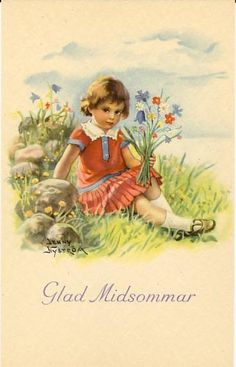 Swedish Corner~Down Under - Swedish Girls, Fairy Pictures, Midsummer Nights Dream, Beltane, Summer Solstice, Vintage Cards, Love Art, Drawing Sketches, Blue Flowers