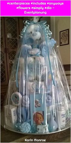 Read more about diaper cake centerpieces: Silk flowers offer great option to fresh flowers that you simply includes in your baby shower anyways.Bab Shower Diaper Cake for Boy Wrapped Idee Baby Shower, Baby Shower Crafts, Baby Shower Gift Basket, Shower Bebe, Baby Baskets, Baby Shower Diapers, Baby Shower Themes, Baby Boy Shower, Diaper Shower
