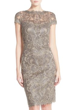 Tadashi Shoji Tadashi Shoji Illusion Yoke Lace Sheath Dress (Regular & Petite) available at Mother Of Groom Dresses, Bride Dresses, Party Dresses, Jersey Knit Dress, Lace Sheath Dress, Bodycon Dress, Tadashi Shoji, Petite Dresses, Knee Length Dresses