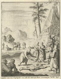 Nordic Sami religious ceremony. Published in 1682.