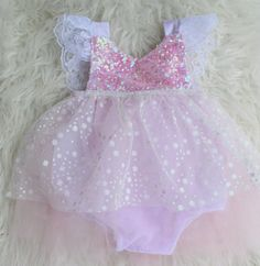 Winter Onederland Wonderland Baby Romper Tutu Dress -- Could totally use as a Glenda Halloween costume, too! #bellethreadspinterest