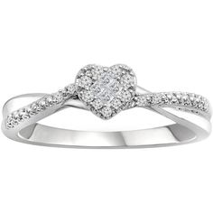 1/8 CT. T.W. Diamond 10K White Gold Promise Ring (Size: 7) - Womens... ($375) ❤ liked on Polyvore featuring jewelry, rings, princess cut ring, princess cut diamond rings, white gold jewellery, white gold rings and round ring