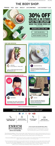 Social Proof using Social Media reviews in email from The Body Shop #EmailMarketing #Email #Marketing #Social #Proof #Media #Twitter #SocialProof #Customer #Reviews #Beauty #Retail #SocialMedia
