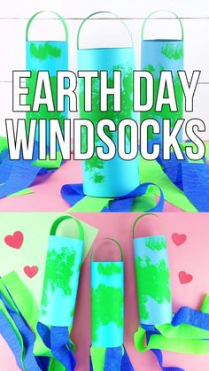 Celebrate Earth Day this year by making these gorgeous Earth Day windsocks. This simple Earth Day craft is easy for preschoolers and kids of all ages to create and it makes a great decoration to display at home or inside the classroom. Earth Day Projects, Projects For Kids, Crafts For Kids, Crafts For Preschoolers, Toddler Crafts, Art Projects, Diy Crafts, Earth Craft, Earth Day Crafts