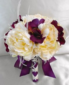 eggplant colored Artificial Flowers | Your Color Customizable Ivory Eggplant Purple Peony by BellinaBlue, $ ...