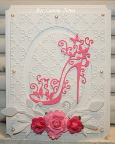 Tattered Lace High Heel by - Cards and Paper Crafts at Splitcoaststampers Girl Birthday Cards, Birthday Cards For Women, Handmade Birthday Cards, Greeting Cards Handmade, Paper Flowers Craft, Paper Crafts, Art Deco Cards, Lace High Heels, Tattered Lace Cards