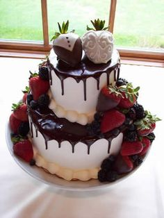 Chocolate Covered Strawberries Wedding Cake!