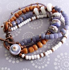 Bracelet by Keirsten Giles using Humblebeads branch disks in periwinkle.