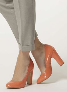 Coral high block heel court shoes