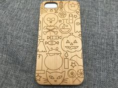 #Halloween #case #wood #iPhone7 #Samsung Phones Laser Engraved Designed in Maple, Cherry or Black Bamboo Phone Case www.jiacase.com