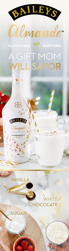 This Mother's Day, treat mom to Baileys Almande- the new dairy free, gluten free, and vegan blend. This almondmilk liqueur is not only a great gift, it's also the perfect blend for mother-daughter brunch recipes. Grab your bottle today and try a deliciously light-tasting White Chocolate Frozen Hot Chocolate. Simply mix 3 oz Baileys Almande, 1 cup Almondmilk, 2 tbsp Granulated Sugar, 1 tsp Vanilla Extract, and 6 oz of melted white chocolate. Pour over ice and top with whipped cream and enjoy!