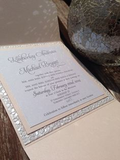 Elegant Pebble Paper Pocketfold Wedding by PolkaDotInvites on Etsy