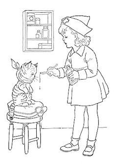 Kids Vintage Printable - Coloring Page - Lil Nurse - The Graphics Fairy