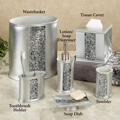 silver sparkle bathroom accessories. Each piece is a surround of sparkly beveled mirror  accented with band assorted Clear and Smoky crystals Ricci Vanity Collection 119 95 Pinterest
