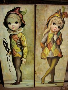 60s Vintage Maio Big Eyed Wall Art