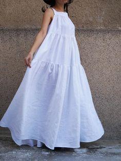 Layered White Kaftan/Handmade Dress/Asymmetrical Tunic/Maxi Dress/White Linen Dress/Casual Kaftan/Fashion Dress/Maxi Dress/XXL - My CMS White Linen Dresses, White Dress, Casual Dresses, Fashion Dresses, Summer Dresses, Beach Dresses, White Kaftan, Handmade Dresses, Asymmetrical Dress