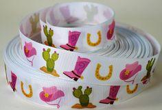 7/8 Western Cactus Boot Hat Horseshoe Grosgrain by RibbonStation