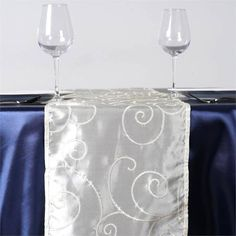 Bienvenue Fancy Swirls Table Runners Taffeta w/ Embroider Ivory |  Life is all about sharing good times together and welcoming new relations and jovialities in life. Open your hands wide and embrace all the good things that are coming your way, to make you the happiest and luckiest person on planet earth. Celebrate your lucky moments with dancing spirits and twirling sentiments, like our swish taffeta overlays with multitudes of swirling and pirouetting embroidery all over it, representing…