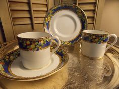 Pair of China DEMITASSE CUPS and SAUCERS by VintageCreativeAccen
