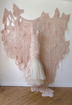 Julia Ramsey, Engaged: Tied Up, 2011. Silk yarn, rayon ribbon, silk woven fabric, organic cotton knit fabric, synthetic tulle, 8 x 10 1/3 ft. Courtesy of the artist.