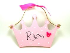 Handmade Personalised Wooden Pricess Crown Sign / by 2good2beWood