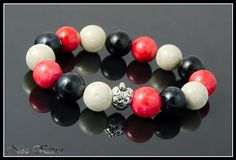 Fossil gemstone in tri color: red, black, white.  #bracelet, #fossil, #gemstone
