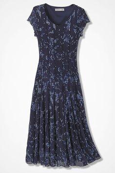 Blue Shadow Floral Mesh Knit Dress - Women's Dresses | Coldwater Creek
