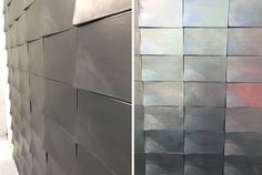 3D  - Raised or three-dimensional tiles have been creeping up leaving the flat surfaces behind. At the forefront of this trend is Cotto Etrusco, whose wall tiles (above) were raised in one corner making them look as if they were shingles on a roof that were slowly starting to come up when it's windy outside.