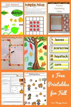 8 Free Fall Printables from www.YourTherapySource.com