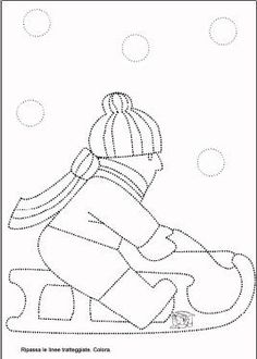 Schede di pregrafismo Winter Activities For Kids, Christmas Quilt Patterns, Hat Crafts, Winter Season, Stitch Patterns, Coloring Pages, Kindergarten, Projects To Try, Preschool