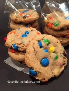 Colorful Cookies (M&M's). Made from scratch, not a mix or pre-made. We use fresh eggs, non GMO organic real vanilla, non GMO brown sugar, real butter and real M&M's candies. Local Delivery and Shippable within the USA and to soldiers worldwide.
