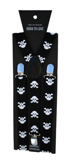 Black Skull Suspenders