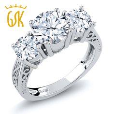 GemStoneKing 2.60 Ct Natural White Topaz White Sapphire Three Stone Engagement Ring 925 Sterling Silver Vintage Women's Ring
