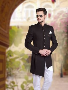 Shop Plain black knitted indo western online from G3fashion India. Brand - G3, Product code - G3-MIW2402, Price - 11395, Color - Black, Fabric - Knitted,
