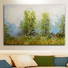 "24""x36"" ORIGINAL art Landscape painting on stretched canvas Oil Painting - by Tatjana Ruzin - Palette knife texture Spring landscape"