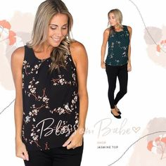 #REFRESH  Jasmine Top Sizes: XS, S, M, L, XL XXL Price: $34.99  Retail $39.95 Colours: Black Flowers, Green Flowers Brand: VERO MODA  Fit: Sleeveless. Round neck. Pleated neck detail. 4'' keyhole at back with button closure Complete look: Jasmine Top, Power Player Jeans and Paris Handbag.  Estimated Ship Date: October 13