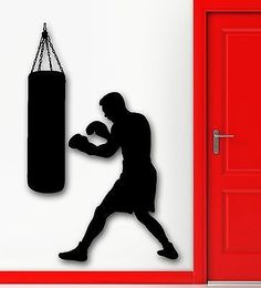 Boxing Boxer Sports Wall Decal Punching Bag Martial Sports Wall Sticker Vinyl Art Mural Wall Papers For Boys Bedroom Wall Stickers Sports, Cheap Wall Stickers, Wall Stickers Home Decor, Wall Art Decor, Room Decor, World Wallpaper, Wall Art Wallpaper, Kids Room Wallpaper, Photo Wallpaper