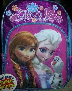 Disney Frozen light up Backpack  Book bag  Elsa Anna Olaf Glitter Sparkles NWT  #Disney
